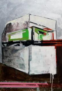 "Untitled I, from the Fragmentos de isla series, 2008, mixed medium on canvas, 52"" x 48"", colección Ramos Borges."