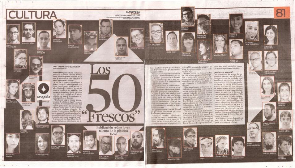 """Los 50 """"Frescos"""", El Nuevo Día, septiembre 2010"""
