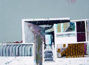 "Fragmentos Siglo XXI from the series Fragmentos de Isla, 2008, acrylic, yeso, fiberglass joint tape and industrial paint on canvas, 58"" x 70"", Museo de Arte Contemporáneo de Puerto Rico Collection."