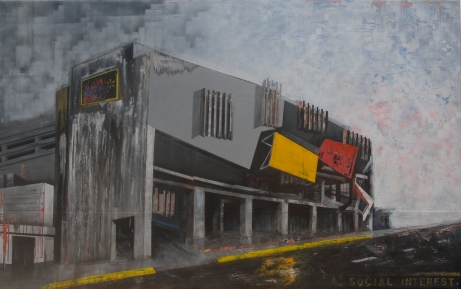 Social Interest from the series Fragmentos de Isla, 2013, acrylic, industrial paint and enamel on canvas, 7' x 12', Museo de Arte de Puerto Rico Collection.