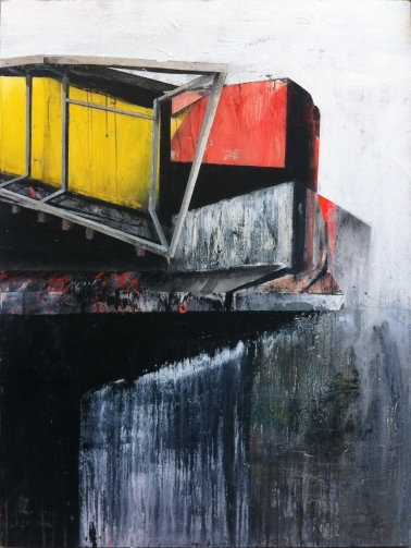 """Point of View #4, 2012, acrylic, industrial paint, graphite and enamel on canvas, 48"""" x 36"""", private collection."""