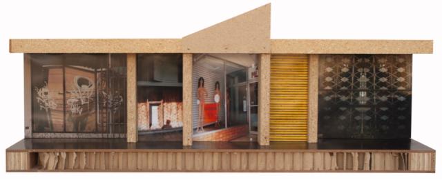 Puerto Nuevo- Recollection, 2011, panel reciclado, madera reusada, puertas semi-solidas,fotografia digital adherida, 14″ x 36″ x 10″, colección Cybelle Cartagena.