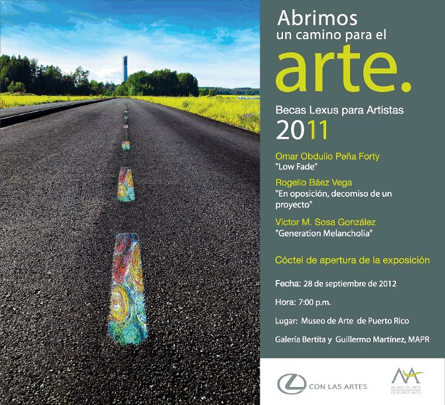 Invitación exhibición Beca Lexus 2011 en el Museo de Arte de Puerto Rico