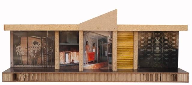 """Puerto Nuevo- Recollection, 2011, Panel reciclado, madera reusada, puertas semi-solidas,fotografia digital adherida, 14""""  x 36"""" x 10"""""""