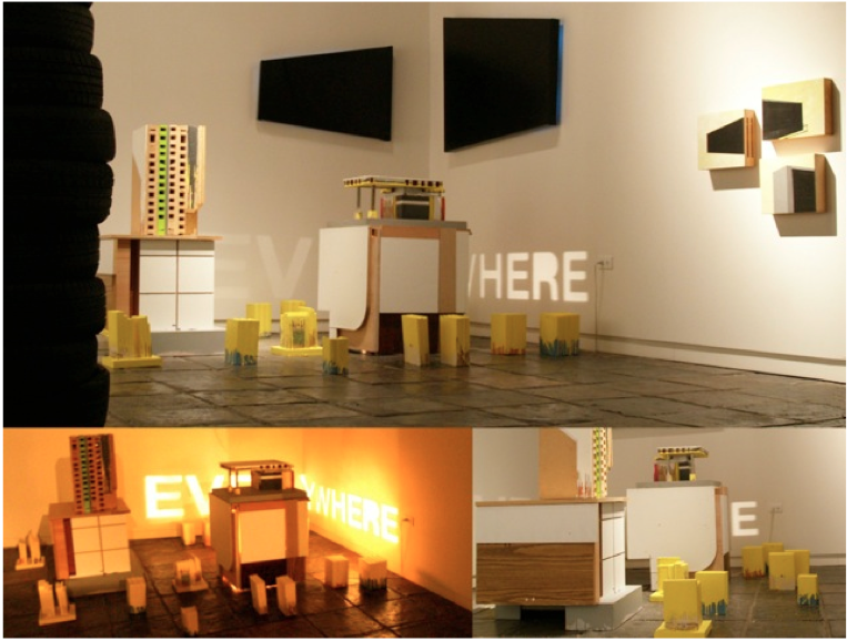 Everywhere: propuesta genérica para un site-unspecific, 2011, maquetas a escala, libros intervenidos, pintura industrial, canvas, acrílico sobre madera, dimensiones variables.