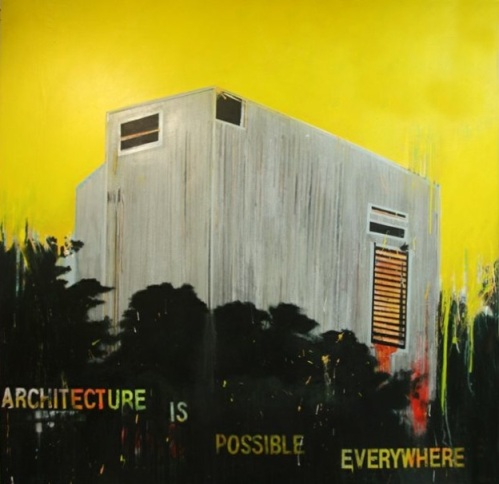 "Architecture is possible everywhere de la serie Fragmentos de Isla, 2011, acrylic, enamel, graphite and industrial paint on canvas, 77"" x 78"",  private collection."