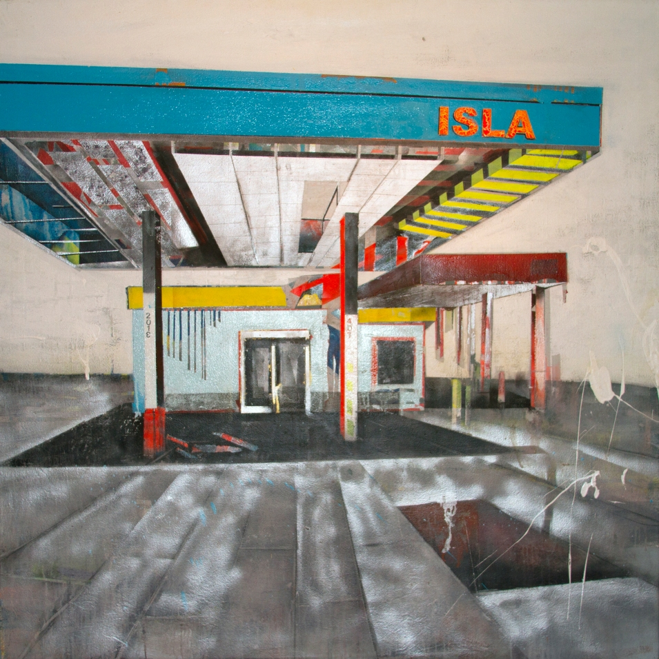 "Isla de la serie Fragmentos de Isla, 2011, acrylic, enamel, graphite and industrial paint on canvas, 60"" x 60"", Jiménez Colón collection."