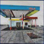 """Isla de la serie Fragmentos de Isla, 2011, acrílico, esmalte, grafito y pintura industrial sobre canvas, 60"""" x 60"""", colección Jiménez Colón"""