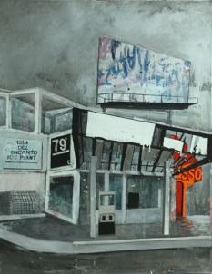 "sla del encanto Ice Plant from the series Fragmentos de Isla, 2010, acrylic, enamel, graphite and industrial paint on canvas, 70"" x 50"", Carlos López Collection."