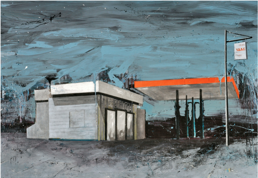 "American Landscape in Puerto Rico from the Fragmentos de Isla series, 2009, acrylic, enamel, graphite and industrial paint on canvas, 52"" x 72"", Oriental Bank & Trust collection, First Prize in 3er Certamen Arte Joven."