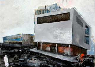 """Last Trend de la serie Fragmentos de Isla, 2010, acrílico, esmalte, grafito y pintura industrial sobre canvas, 52 ½"""" x 75"""", colección Johanna Cartagena."""