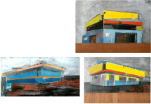 """Colonial Parts de la serie Fragmentos de Isla, 2010, acrílico, esmalte, grafito y pintura industrial sobre panel de madera, 11 ¼"""" x14 7/8"""", 8 5/8"""" x 15 ¾"""", 10 5/8"""" x 13 ¾"""", colección Cybelle Cartagena, Johanna Cartagena, Gerardo Vázquez."""