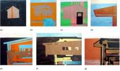 """Untiltled de la serie Fragmentos de Isla, 2008, acrylic sobre madera, (a) (b) (c) 6"""" x 6"""", (d) 10"""" x 10"""", (e) 10"""" x 10"""", (f) 10"""" x 12"""", (g) 10"""" x 14"""", colecciones particulares."""