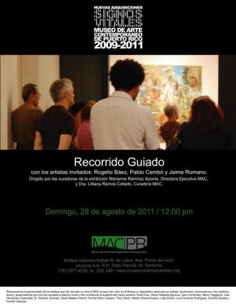 Invitation for guided tour with artists participating in Signos Vitales exhibition