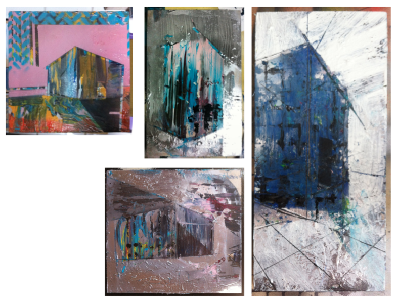 Paisaje axonométrico I, II, III, IV, 2013, acrylic and enamel on wood, variable dimensions, private collections.