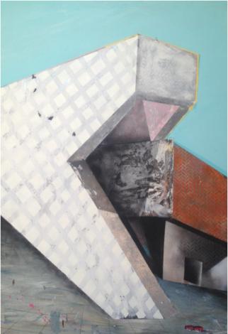 """Meta Isla I, 2013, acrílico y esmalte sobre tela, 62"""" x 40""""."""