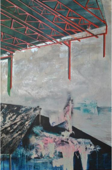 "Meta Isla II, from the Minimal Caos series, 2013, acrylic hand enamel on canvas, 59"" x 36""."