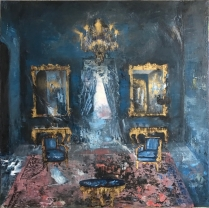 "Governor's Mansion - Blue Room from the series Colonial Suites, 2017, oil on canvas, 40"" x 40"""