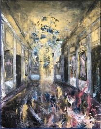 "Governor's Mansion - Mirror Room, from the series Colonial Suites, 2017, oil on canvas, 48"" x 38"", artist collection."