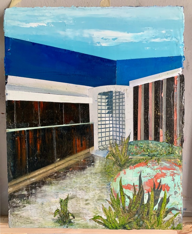 "Beach Apartment I, 2019, oil on canvas, 20"" x 16"" Tessa Ferveyros Collection."