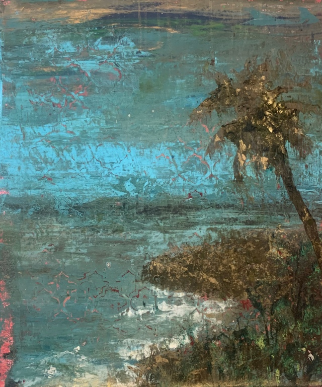 """Exotic Island - Cosmetic Corruption I, 2020, oil, beeswax and powdered gold pigment on canvas, 24"""" x 18 ¼""""."""
