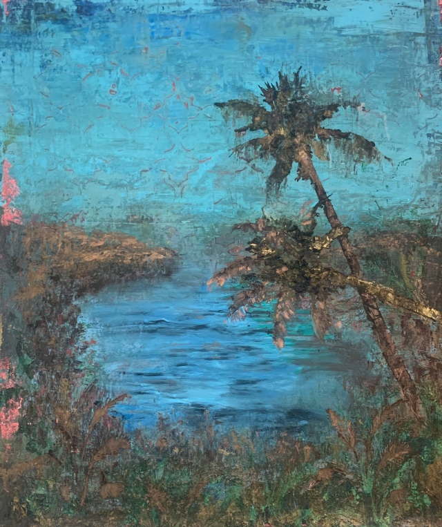 """Exotic Island - Cosmetic Corruption II, 2020, oil, beeswax and powdered gold pigment on canvas, 24"""" x 18 ¼""""."""