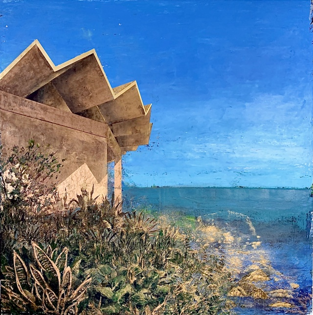 "ID. Centro Comunal Parcelas Suárez, Loíza, PR, 2020, oil, beeswax, gold pigment on canvas, 52"" x 52""."