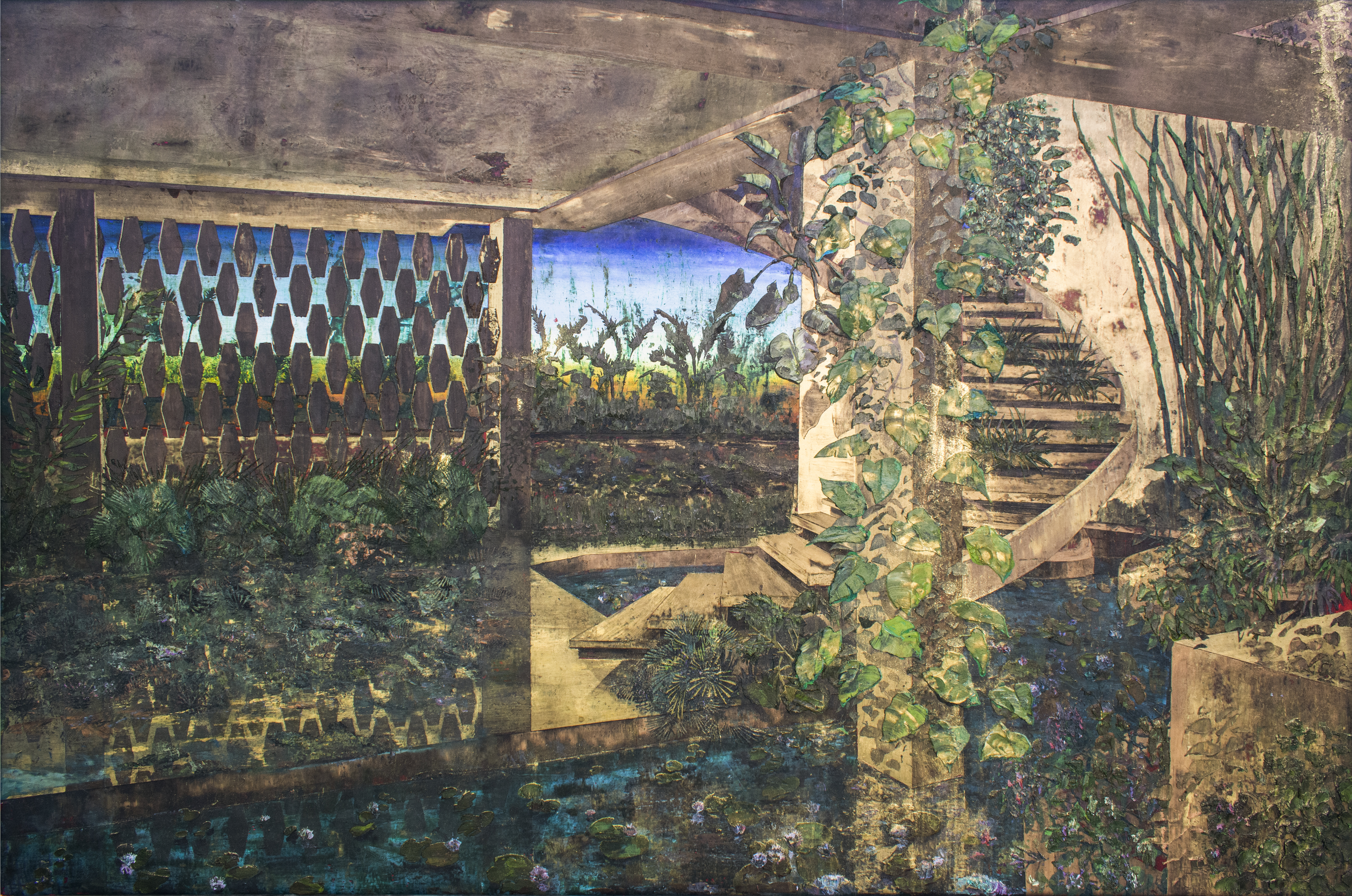 """ID. Hotel La Concha, Condado, P.R., Henry's Myth series, 2021, oil, beeswax and gold pigment on canvas, 40"""" x 61"""", Miguel Soto Collection."""